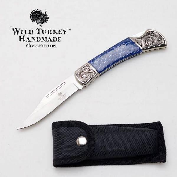 Bilde av WT - Håndlaget Foldekniv med Graveringer - Blå